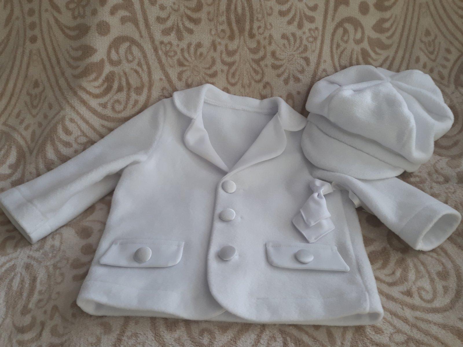 3b52bf39ead8 Biely komplet nohavice a kabátik na krst či svadbu