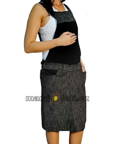 9324763daa52 Tehotenské šaty   sukňa na traky - čierny melírok