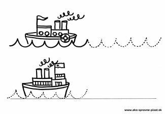 Lodičky - Dokresli vlnky za lodičky podľa predlohy.