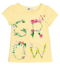 122/128 tričko s nápisom z kvetov, h&m,122 / 128