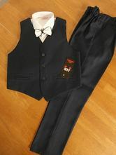 Chlapčenský elegantný oblek veľ. 152 - tmavomodrý , 152