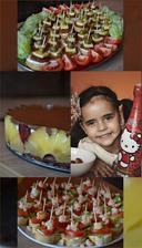 Alžbetkina oslava.....tvarohová torta s ovocím, syrové jednohubky a krevetové jednohubky :-)