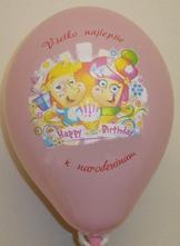 """Balón s potlačou - """"všetko najlepšie k narodeninam,"""