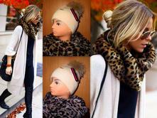 Tigrovaný kožušinový šál , l - xxxl