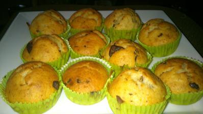 čokoládovo-banánové muffiny,recept zo skupinky hrncekove recepty :-)