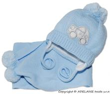 Zimná čiapočka s šálom - autíčko sv. modré, 50 - 158