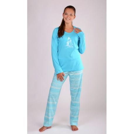 9084845cf890 Dámske dlhé bavlnené pyžamo snehuliak.