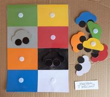 Rôzne fareb. priraďovačky (autá, kvety, obdĺžniky),