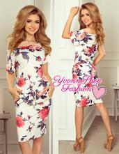 Štýlové dámske šaty kvety numoco, l / m / s / xl