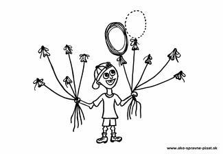 Balóniky - Dokresli ku každej šnúrke balónik podľa predlohy.