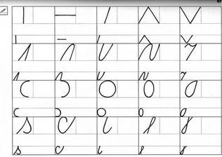 základné čiary písaného písma pre 1 ročník