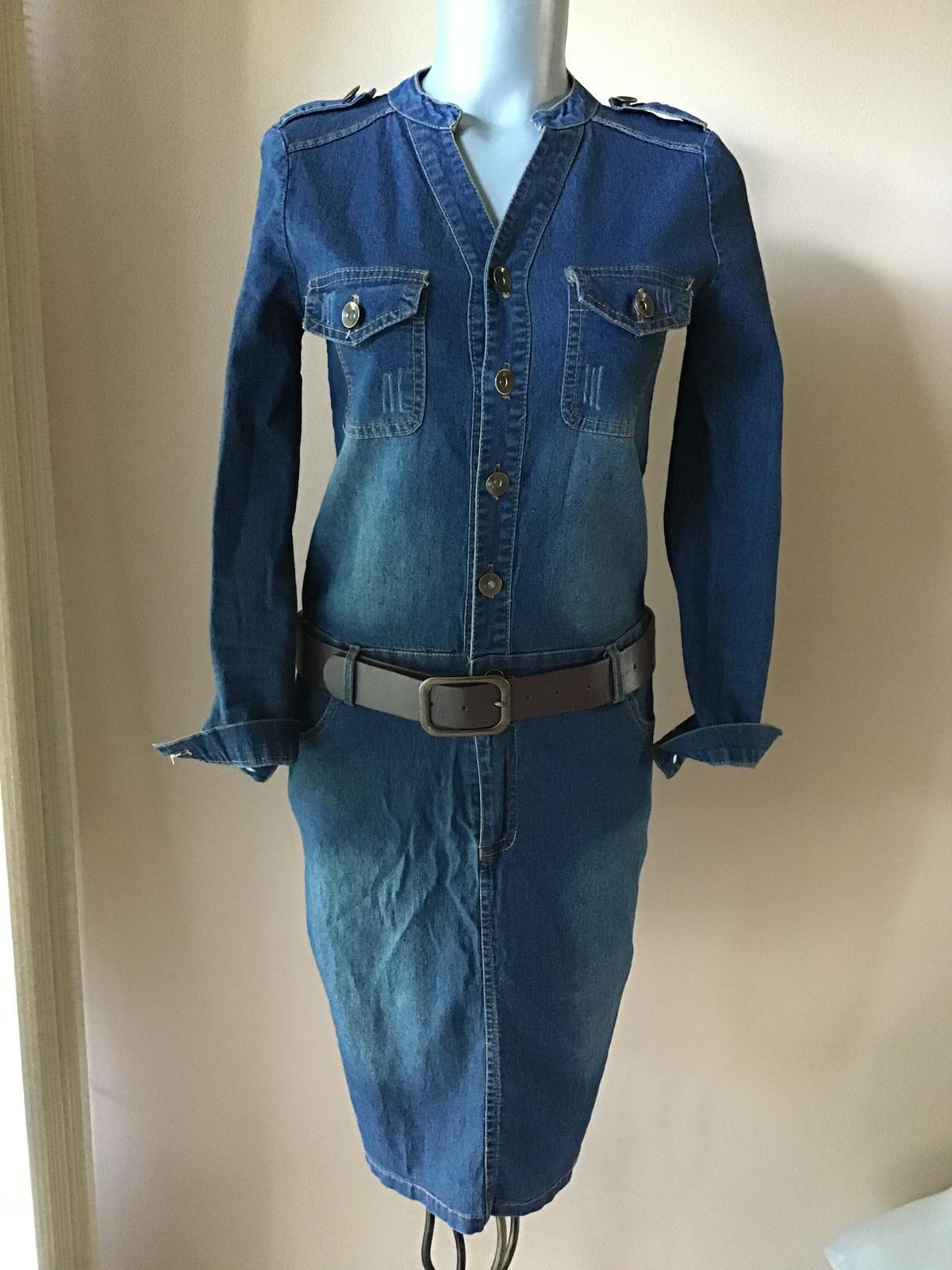 Elastické riflové šaty s opaskom cfb1954b1b