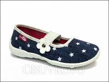 Textilné dievčenské papuče renbut 414 modrá hviezd, ren but,26 - 35