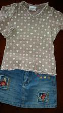 Riflová suknička girl2girl a tričko next veľ.3/4 r, 104