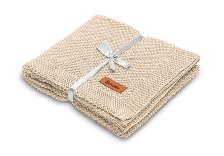 Sensillo bavlnená pletená deka béžová 100x80 cm,