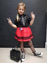 Dievčenská sukňa červená s čipkou, 98 - 140