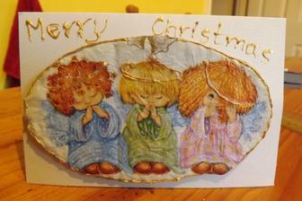 A este posledne vianocne pohladnice,ktore sa nebudu posielat aj odovzdavat....servitka a karton pre 3D efekt.