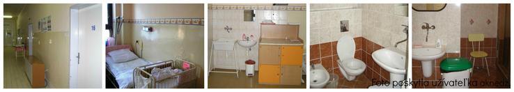 Pôrodnica Tenčín. Štandardná izba a spoločné sociálne zariadenie.