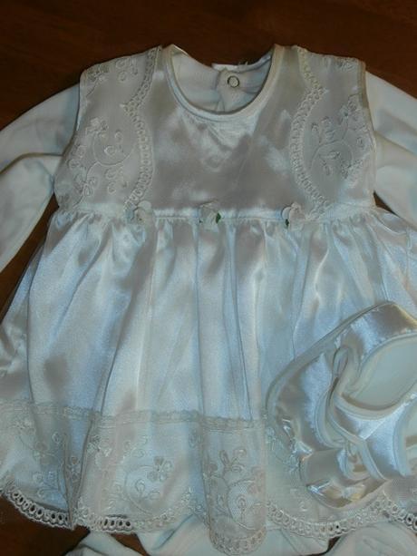 Dievčenské šaty na krst s body smotanová cca 62  1b86ee24daf
