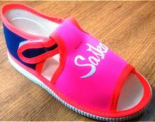 Neónkovo-ružové papučky s menom, s´botex,<17 - 33