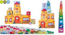 Drevená pyramída - číslice, zvieratá, dom, mesto2+,