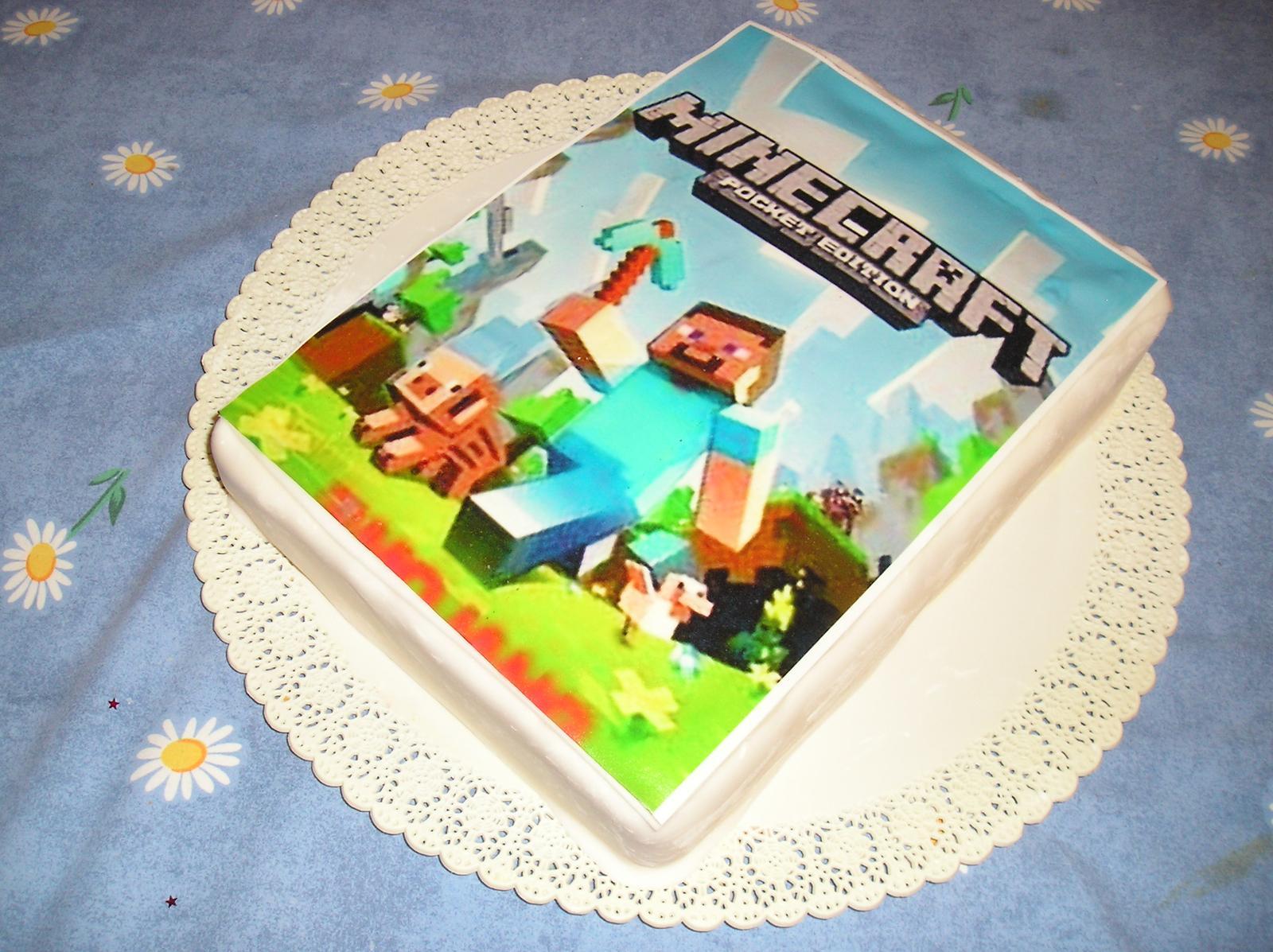 Торт майнкрафт с сахарной картинкой