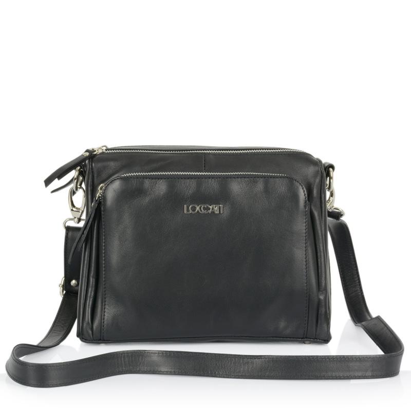 247299e6a6 Dámska talianska kožená kabelka cez plece - čierna