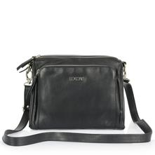 52078a2968 Dámska talianska kožená kabelka cez plece - čierna