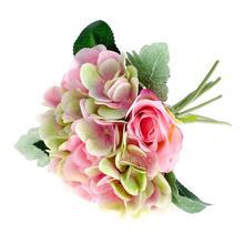 Umelá kytica ruže s hortenziou,