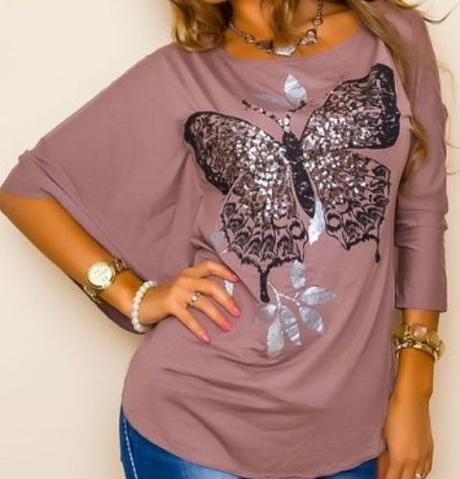 Hnedé tričko s trblietavým motýľom, m