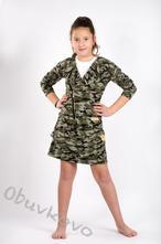 Bavlnená dievčenská mikina kabátik mm 925 army, 86 - 122