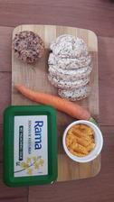 Kvaskove pohankovo-ryzove zemle, mrkvova natierka a ringlotovy muffin