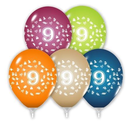 Balón 30 cm s číslom 9,