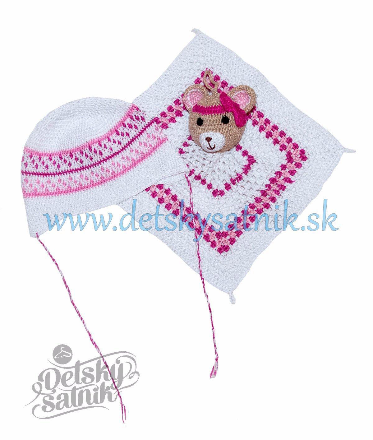09ecf215413c Detská háčkovaná čiapka a mojkáčik pre novorodenca