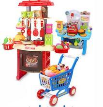Kuchynka pre dievčatá, veľká sada + nákupný vozík ,