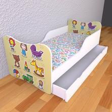 Detská posteľ s pevnými bočnicami - hračky,