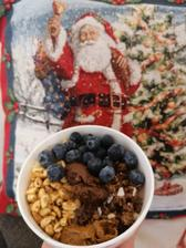 Coko ovsena kasa, cerealie, musli, cucoriedky s mandlovym a čokoládovým orieskovym maslom😊