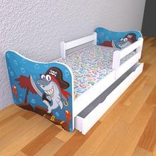 Detská posteľ s odnímateľnými bočnicami - piráti,
