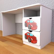 Detský písací stôl so zásuvkami pravý - autíčko,