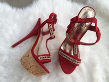 Červené sandálky na opätku, 37