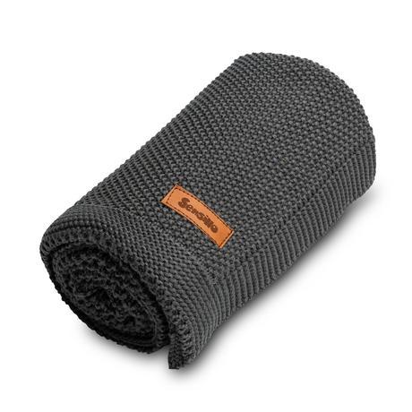 Sensillo bavlnená pletená deka tmavo-šedý 100x80 c,