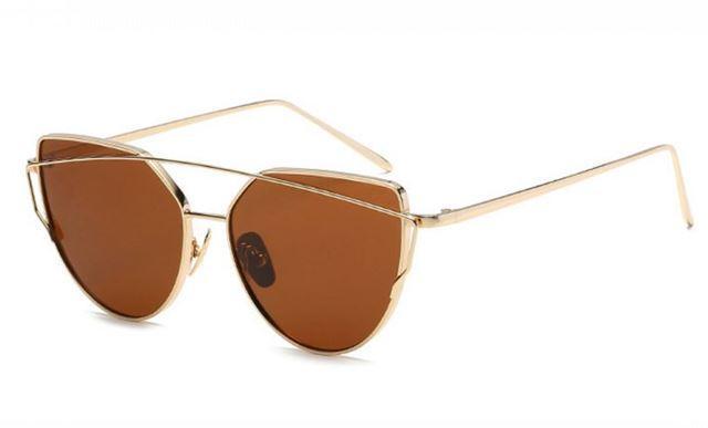 Slnečné okuliare zrkadlové mačacie zlate 1f271ceced6