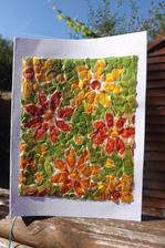 a tu je v celej svojej krase..moje prva mozaika decoupage pohladnica