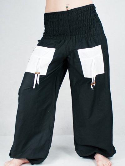 e394248ea726 Turecké nohavice aladinky haremky čierno-biele