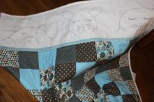 Tyrkysovo-hnedá  detská deka,