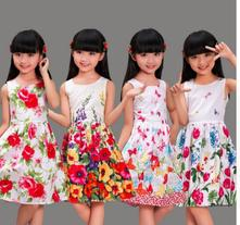 Letné bavlnené šaty s kvetmi, 104 - 152