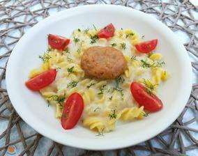1r.+ Chřestová omáčka s rybím karbanátkem a těstoviny