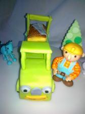 auto s kontajnerom rychly dan- z horalieka a jedlej hmoty, bob, mica- rucne modelovane