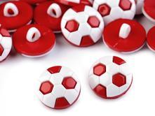 Gombík futbalová lopta - červená,