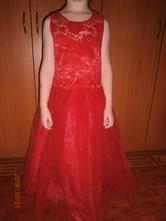 Červené dievčenské dlhé šaty, 128